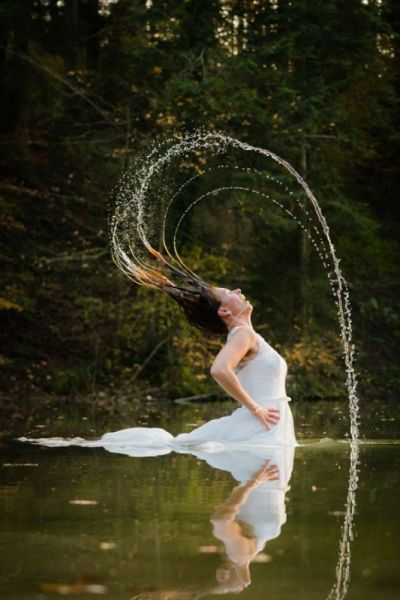 Trash the Dress Shooting schmutzige Haare